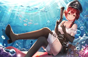 Rating: Safe Score: 60 Tags: animal blush boots braids brown_eyes bubbles corset elbow_gloves fish gloves gun hat hum_(ten_ten) ponytail red_hair shorts tagme_(character) thighhighs underwater water weapon x2:_eclipse zettai_ryouiki User: Dreista