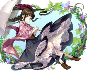 Rating: Safe Score: 27 Tags: bow brown_hair butterfly dress flowers geroro japanese_clothes leaves lolita_fashion long_hair original umbrella yellow_eyes User: otaku_emmy