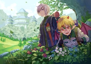 Rating: Safe Score: 9 Tags: 778-go all_male blonde_hair blue_eyes demon eyepatch flowers glasses grass horns male original red_eyes short_hair tree white_hair wings User: mattiasc02
