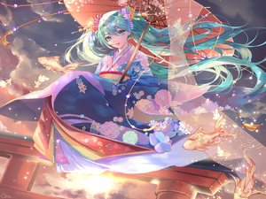 Rating: Safe Score: 38 Tags: animal clouds fish flowers green_eyes green_hair hatsune_miku japanese_clothes kimono long_hair qie_(25832912) signed sky sunset torii twintails umbrella vocaloid User: BattlequeenYume