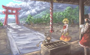 Rating: Safe Score: 24 Tags: hakurei_reimu japanese_clothes miko mousegirl nazrin shrine toramaru_shou torii touhou User: w7382001