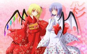 Rating: Safe Score: 20 Tags: 2girls blonde_hair blue_hair blush flandre_scarlet japanese_clothes kimono red_eyes remilia_scarlet short_hair touhou vampire wings User: Tensa