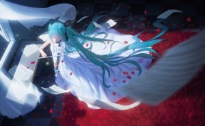 Rating: Safe Score: 170 Tags: aqua_hair dress hatsune_miku instrument long_hair maredoro night paper petals ribbons twintails violin vocaloid User: Flandre93