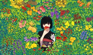 Rating: Safe Score: 104 Tags: apple black_hair cherry food fruit japanese_clothes kimono leaves orange_(fruit) original red_eyes short_hair urue User: STORM