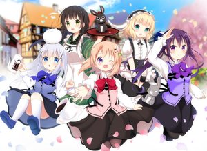 Rating: Safe Score: 24 Tags: aliasing animal anko_(gochiusa) black_hair blonde_hair blue_eyes blush bow building clouds dress drink gochuumon_wa_usagi_desu_ka? green_eyes group hoto_cocoa kafuu_chino kirima_sharo loli long_hair maid ponytail purple_eyes purple_hair rabbit ribbons short_hair sky tagme_(artist) tedeza_rize tippy_(gochiusa) tree ujimatsu_chiya wild_geese User: BattlequeenYume