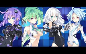 Rating: Safe Score: 250 Tags: black_heart blanc blue_eyes blue_hair green_hair green_heart hyperdimension_neptunia long_hair neptune noire purple_hair purple_heart skintight tsunako twintails vert white_heart User: meccrain