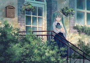 Rating: Safe Score: 157 Tags: book building green_eyes green_hair hatsune_miku leaves long_hair mimengfeixue shirt skirt stairs twintails vocaloid User: luckyluna