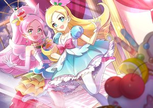 Rating: Safe Score: 31 Tags: aqua_eyes blonde_hair bow cherry cure_parfait dress elbow_gloves food fruit gloves headband hoshi_(xingspresent) long_hair pink_hair ponytail precure thighhighs User: RyuZU