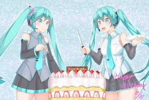 Rating: Safe Score: 26 Tags: aliasing aqua_eyes aqua_hair cake food hatsune_miku long_hair tagme_(artist) twintails vocaloid User: luckyluna