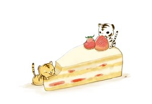 Rating: Safe Score: 20 Tags: animal bird cake chai_(artist) food fruit nobody original signed strawberry tiger white User: otaku_emmy