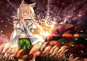 Rating: Safe Score: 110 Tags: animal_ears blonde_hair bow flute foxgirl grass instrument japanese_clothes miko morerin original petals ribbons short_hair skirt sunset tail User: opai
