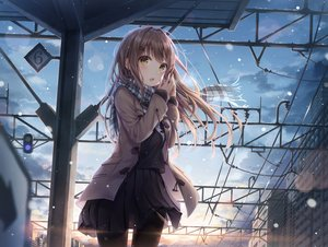 Rating: Safe Score: 147 Tags: brown_hair building city dangmyo long_hair original pantyhose scarf school_uniform skirt snow sunset train yellow_eyes User: Fepple