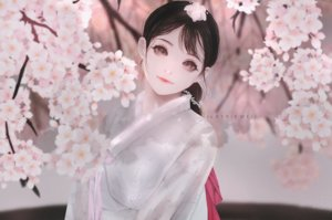 Rating: Safe Score: 29 Tags: black_hair brown_eyes cherry_blossoms japanese_clothes kimono kyrie_meii long_hair original realistic watermark User: otaku_emmy