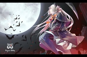 Rating: Safe Score: 38 Tags: animal bat dress eternita gothic headdress lolita_fashion long_hair moon newrein pantyhose pink_hair red_eyes scythe weapon User: Tensa