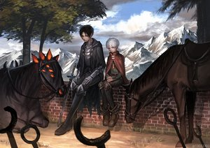 Rating: Safe Score: 33 Tags: all_male animal arizuka_(13033303) black_hair boots cape clouds elbow_gloves gloves horse male original red_eyes short_hair sky sword tree weapon white_hair User: luckyluna