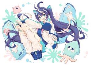 Rating: Safe Score: 37 Tags: aqua_eyes blue_hair blush bow braids game_console hazuki_natsu kneehighs long_hair sawaki_yuko skirt twintails User: Maboroshi