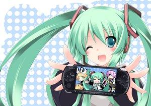 Rating: Safe Score: 165 Tags: blush chibi game_console green_hair hatsune_miku kagamine_len kagamine_rin male megurine_luka plus9 twintails vocaloid wink User: opai