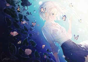 Rating: Safe Score: 63 Tags: blue_eyes butterfly flowers gomzi original shirt short_hair signed skirt underwater water white_hair User: BattlequeenYume