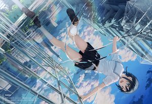 Rating: Safe Score: 204 Tags: black_hair blue_eyes blush braids building city clouds kantoku original reflection scan school_uniform skirt sky twintails umbrella water wet User: BattlequeenYume