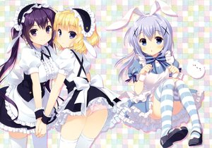 Rating: Safe Score: 88 Tags: animal_ears apron aqua_eyes ass blonde_hair blush bow breasts bunny_ears dress gochuumon_wa_usagi_desu_ka? headdress kafuu_chino kirima_sharo loli long_hair maid panties purple_eyes purple_hair santa_matsuri scan short_hair tedeza_rize thighhighs tippy_(gochiusa) twintails underwear User: RyuZU