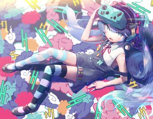 Rating: Safe Score: 43 Tags: blue_eyes blue_hair gesoking06 hatsune_miku headphones loli thighhighs vocaloid User: FormX