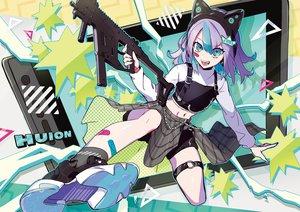 Rating: Safe Score: 31 Tags: bandaid gun huion navel original puppeteer7777 short_hair weapon User: sadodere-chan