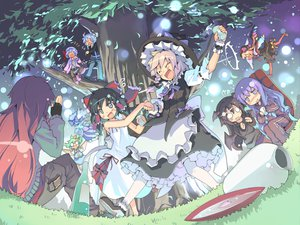 Rating: Safe Score: 56 Tags: cirno daiyousei demon drink fairy flandre_scarlet group hakurei_reimu hong_meiling izayoi_sakuya kirisame_marisa koakuma morino_hon patchouli_knowledge remilia_scarlet sake touhou vampire witch User: HawthorneKitty