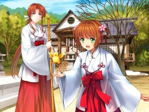 Rating: Safe Score: 43 Tags: animal bird brown_hair card_captor_sakura green_eyes japanese_clothes kinomoto_sakura long_hair miko mizuki_kaho moonknives short_hair User: SciFi