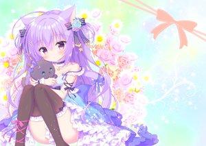 Rating: Safe Score: 68 Tags: animal animal_ears bow cat catgirl choker dress flowers kamishiro_piyo lolita_fashion long_hair original purple_eyes purple_hair rose tail thighhighs User: 蕾咪
