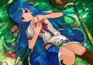 Rating: Safe Score: 113 Tags: blue_hair boots flowers food fruit grass hat hinanawi_tenshi long_hair muireko red_eyes skirt sword touhou weapon User: RyuZU