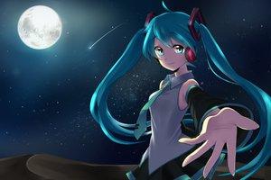 Rating: Safe Score: 65 Tags: hatsune_miku moon stars tie twintails vocaloid User: HawthorneKitty