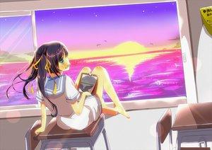 Rating: Safe Score: 100 Tags: barefoot long_hair school_uniform sunset tagme yuimari User: opai