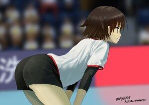 Rating: Safe Score: 46 Tags: ass autism_wanderer brown_eyes brown_hair girls_und_panzer isobe_noriko short_hair shorts signed sport volleyball User: otaku_emmy