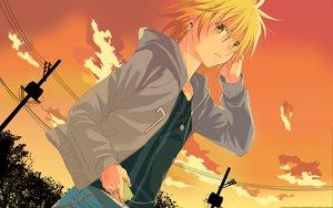 Rating: Safe Score: 47 Tags: blonde_hair headphones ipod orange sawamura_shirou scenic short_hair sky spiral sunset User: Maboroshi