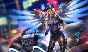 Rating: Safe Score: 168 Tags: blonde_hair blue_eyes boots car gloves gun hat liang_xing long_hair mercy_(overwatch) overwatch police police_uniform rain realistic thighhighs tie uniform water weapon wings User: RyuZU