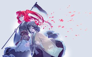 Rating: Safe Score: 55 Tags: 2girls flowers hieda_no_akyu japanese_clothes onozuka_komachi petals scythe touhou weapon zounose User: STORM