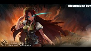 Rating: Safe Score: 62 Tags: braids breasts cleavage hat hong_meiling red_hair touhou watermark x-boy User: Tensa