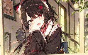 Rating: Safe Score: 145 Tags: animal_ears bicolored_eyes brown_hair cat_smile close doggirl fang inui_toko japanese_clothes kimono maid nijisanji shinoba User: BattlequeenYume
