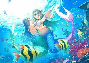 Rating: Safe Score: 39 Tags: 2girls animal ayataka bikini_top blue_eyes blue_hair fish green_hair long_hair mermaid navel original underwater water watermark yellow_eyes User: BattlequeenYume