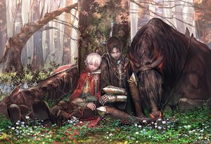 Rating: Safe Score: 26 Tags: all_male animal arizuka_(13033303) armor cape flowers forest grass horse male necklace original short_hair tree watermark User: luckyluna