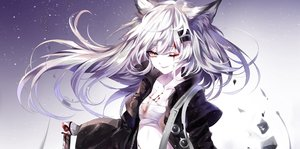 Rating: Safe Score: 82 Tags: animal_ears arknights blood gradient gray_eyes gray_hair lappland_(arknights) long_hair sheya sword weapon wolfgirl User: Nepcoheart