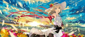 Rating: Safe Score: 149 Tags: aqua_eyes blonde_hair bow clouds dress flowers hat original ribbons short_hair sky summer_dress sunset sutorora User: BattlequeenYume