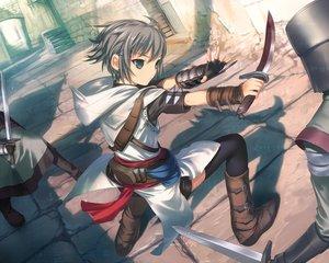 Rating: Safe Score: 190 Tags: armor assassin's_creed blood blue_eyes boots gloves gray_hair knife nagato_yuki parody short_hair suzumiya_haruhi_no_yuutsu sword thighhighs uni weapon User: The_Knight_Girl