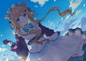 Rating: Safe Score: 62 Tags: animal_ears blue_eyes brown_hair clouds dress eli_conifer gloves lolita_fashion long_hair nijisanji sky yanoynk User: BattlequeenYume
