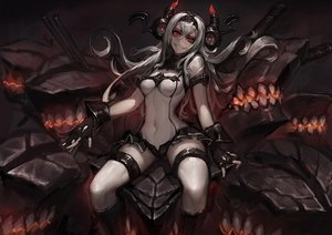 Rating: Safe Score: 244 Tags: air_defense_hime_(kancolle) anthropomorphism boots gloves gods headband horns kantai_collection kneehighs leotard long_hair red_eyes skintight white_hair User: Flandre93