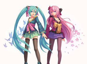 Rating: Safe Score: 178 Tags: 2girls aqua_hair blue_eyes breasts butterfly cleavage fkey hatsune_miku long_hair megurine_luka petals thighhighs twintails vocaloid User: FormX