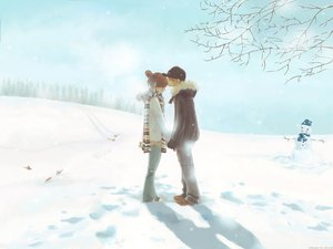 Rating: Safe Score: 64 Tags: bokura_ga_ita hug kiss snow takahashi_nanami yano_motoharu User: cadenza