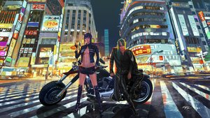 Rating: Safe Score: 26 Tags: arknights building ch'en_(arknights) city hoshiguma_(arknights) male motorcycle night signed wayne_chan User: FormX