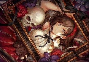 Rating: Safe Score: 64 Tags: bow brown_hair corset flowers gray_eyes headband original ribbons rose short_hair skirt skull tamarashi User: BattlequeenYume
