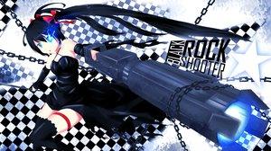 Rating: Safe Score: 58 Tags: black_hair black_rock_shooter blue_eyes chain dress gun katana kuroi_mato long_hair pack_er_5 sword thighhighs twintails weapon User: ANIMEHTF